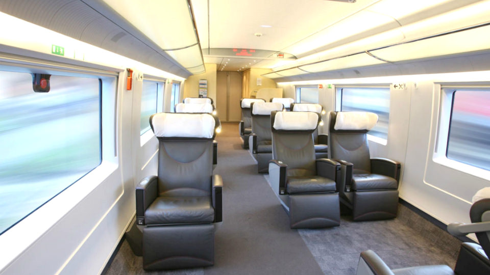 Premium class seat on Sapsan train